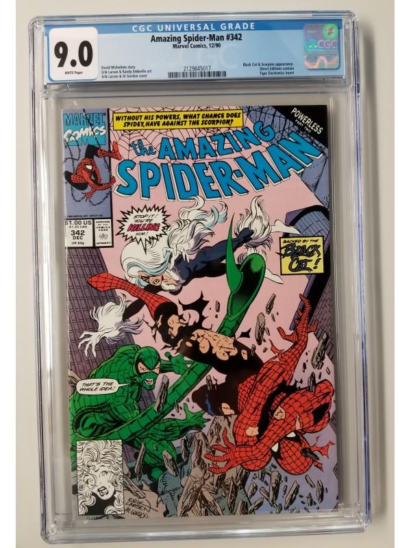Amazing Spider-Man #342 CGC 9.0 - Black Cat & Scorpion Appearance w/insert