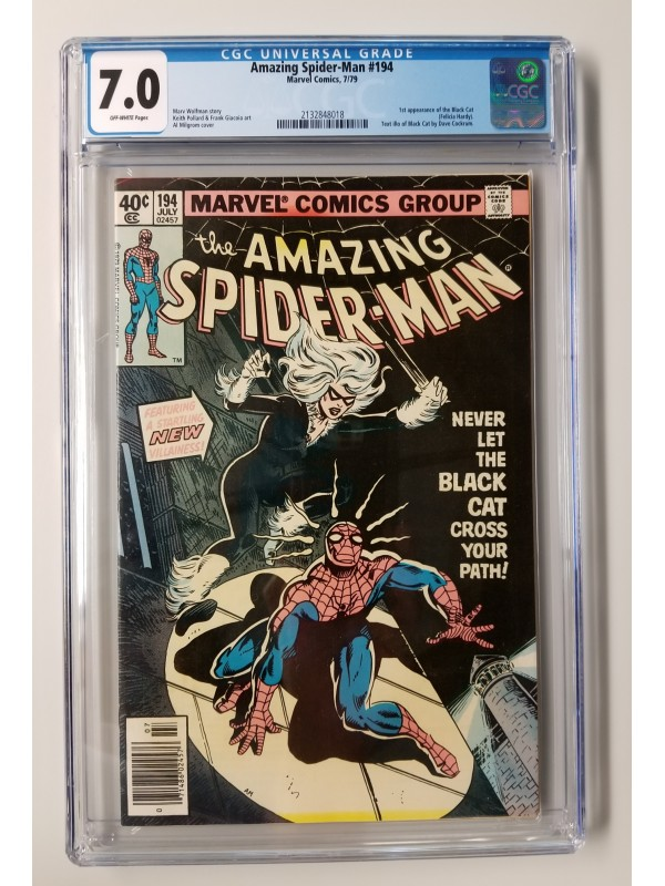 Amazing Spider-Man #194 CGC 7.0 - 1st Appearance of the Black Cat - New Case