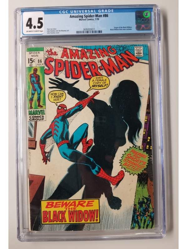 Amazing Spider-Man #86  CGC 4.5  Origin of the Black Widow - New Case