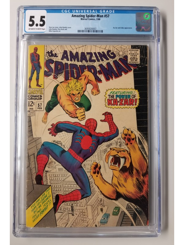 Amazing Spider-Man #57  CGC 5.5 - Ka-Zar Appearance - New Case