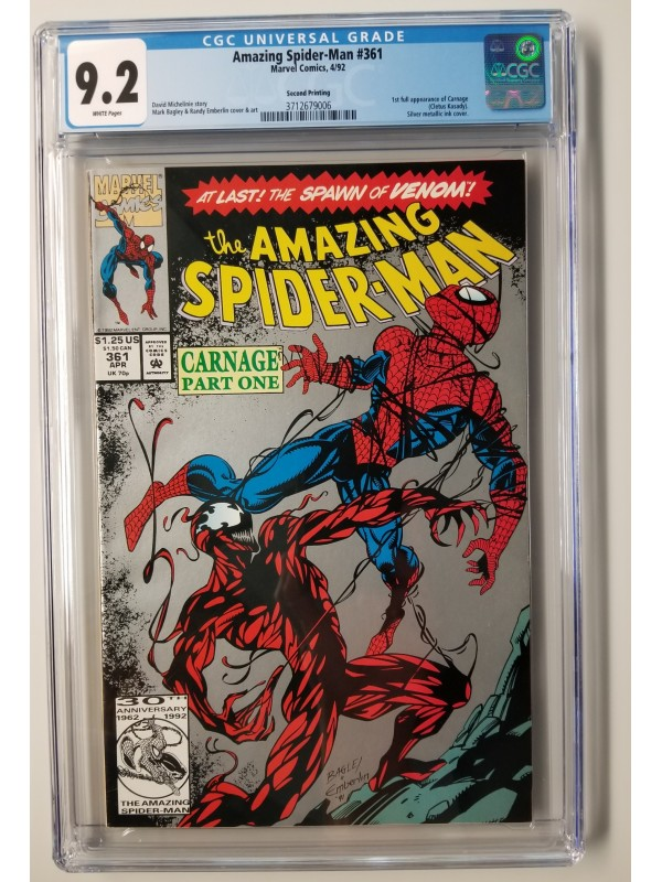 Amazing Spider-Man #361 CGC 9.2 - 1st Full Appearance of Carnage -  2nd Print  - New Case