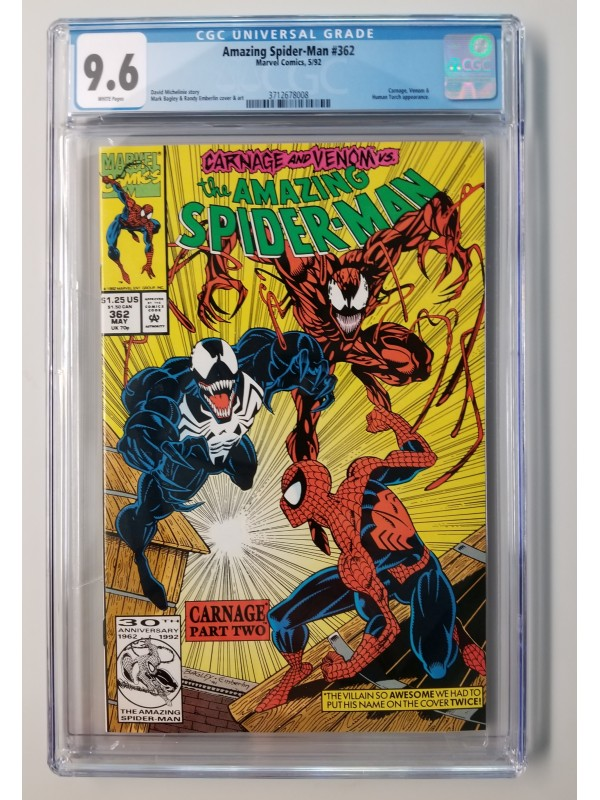 Amazing Spider-Man #362 CGC 9.6 - 2nd Carnage Appearance  - New Case