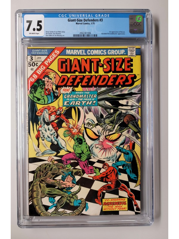 Giant-Size Defenders #3 - CGC 7.5  -   1st App of Korvac  -  New Case