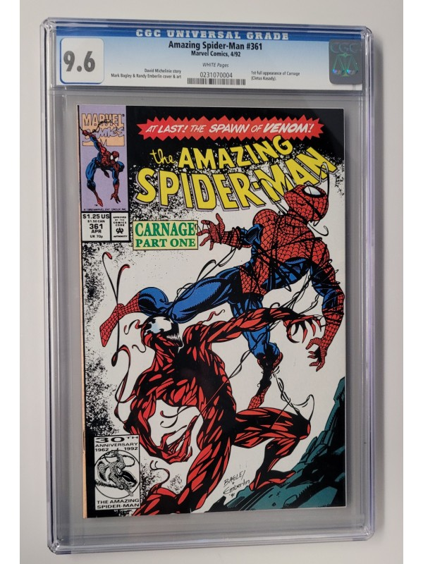 Amazing Spider-Man #361 CGC 9.6 1st Carnage - White Pages
