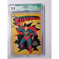SUPERMAN #9 CGC 3.5VG- QUALIFIED